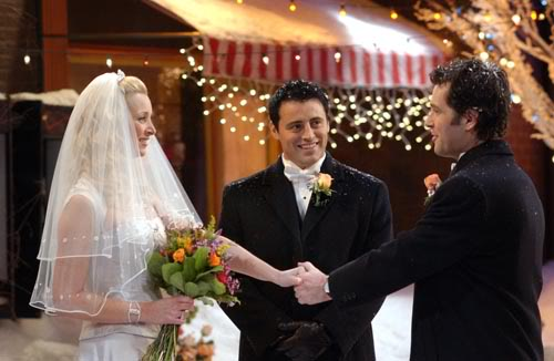 """FRIENDS -- NBC Series -- Season 10: """"The One With Phoebe's Wedding"""" -- Pictured: (l-r) Lisa Kudrow as Pheobe, Matt Le Blanc as Joey, Paul Rudd as Mike -- Photo: Copyright 2004 Warner Bros. Television Production Inc. These photographs, which are the copyrighted material of Warner Bros. Television Production Inc., are being submitted to you for only the following limited purpose: for publicity, promotion or advertising of the series """"Friends"""". You must obtain all other authorizations, consents and releases (other than copyright permission which we have granted to you as set forth herein) and pay all compensation required by any applicable collective bargaining agreement, any individual agreement or otherwise required by law. These photographs are not transferable, may only be used until May 31, 2004 and may not be used in any """"special"""" or """"stand alone"""" issues of your pulications without prior written permission. Your use of these photos shall constitute acceptance of the above terms."""